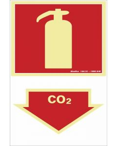 Placa PVC Fotoluminescente Contra Incêndio Extintor Co2 200x300mm